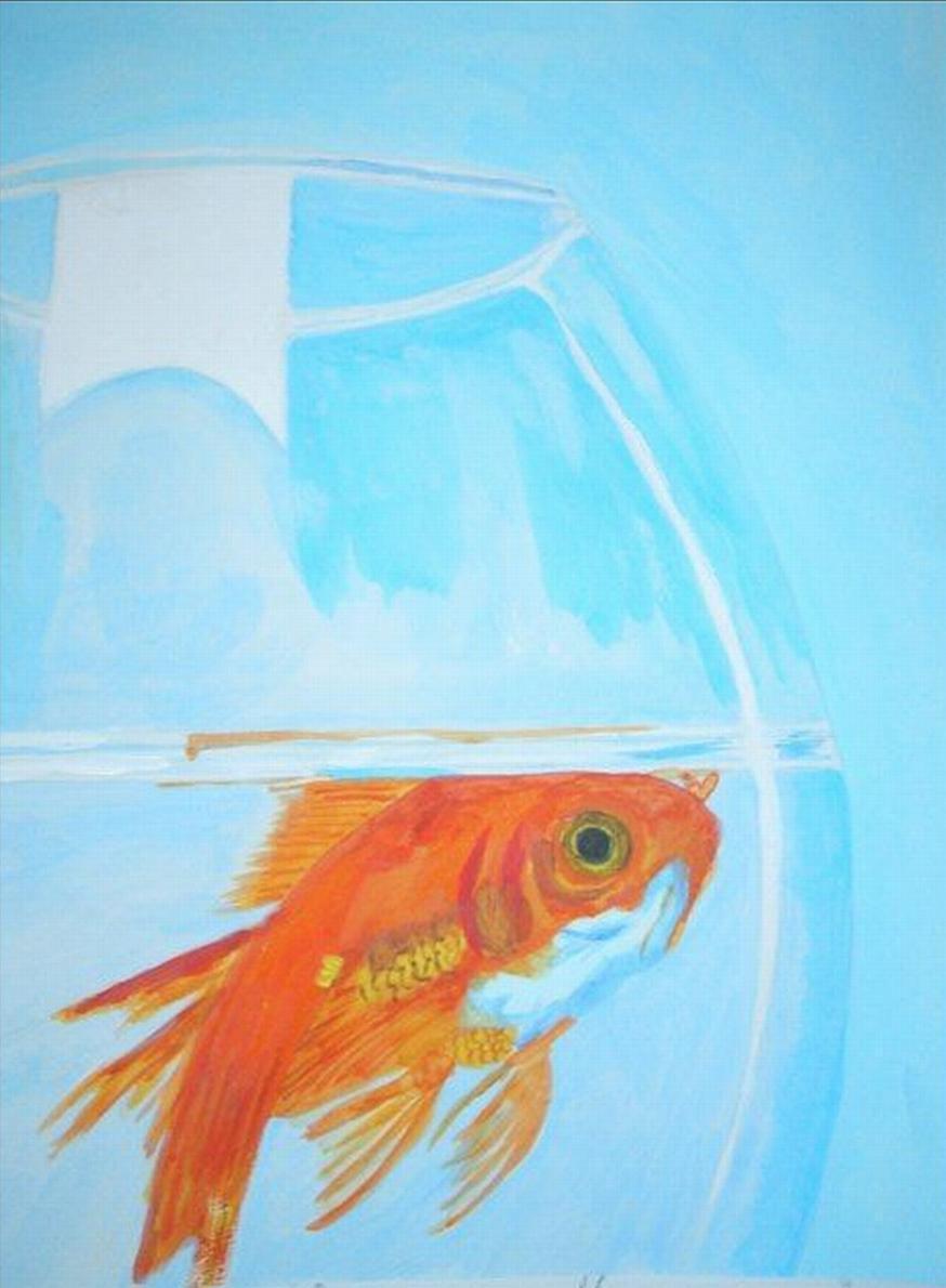 Top Peinture Ceci n'est pas un poisson rouge JJ39