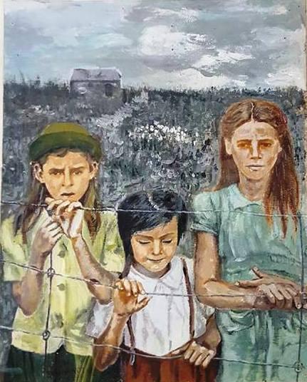 Trois fillettes dans un champs