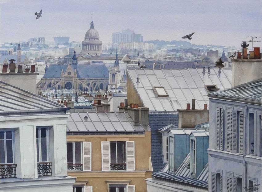 Peinture les toits de paris apr s la pluie - Visite des toits de paris ...