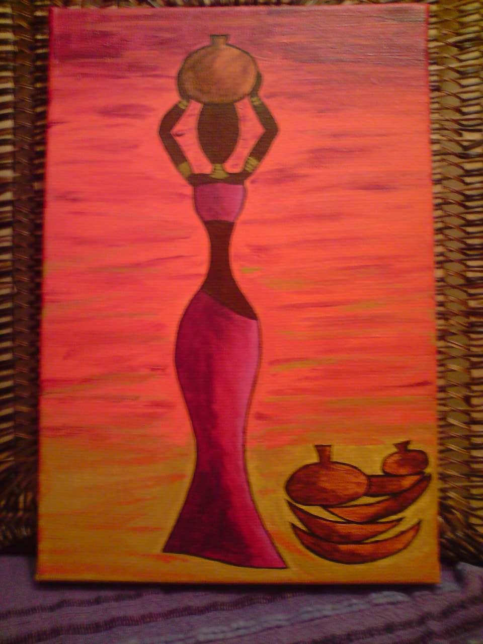 peinture femme africaine portant une jarre. Black Bedroom Furniture Sets. Home Design Ideas