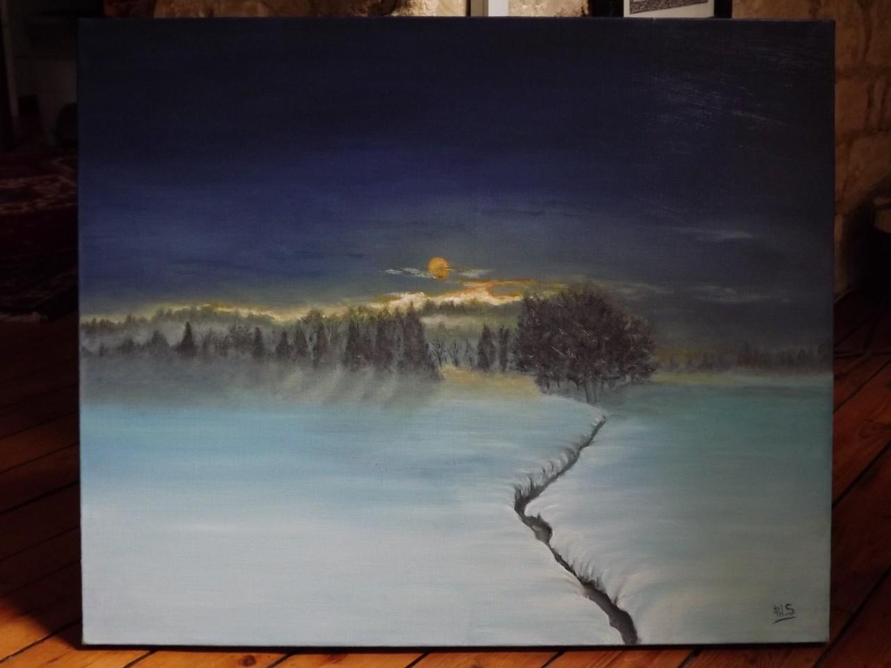 Peinture coucher de soleil en montagne - Photo coucher de soleil montagne ...