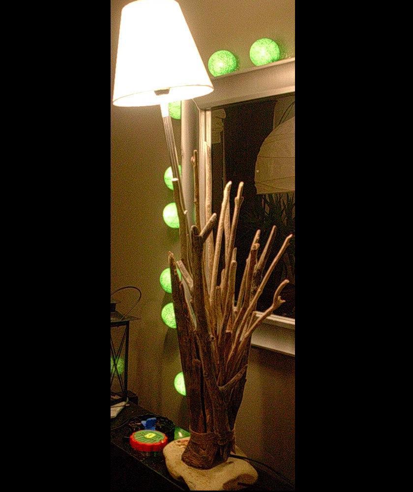 Sculpture lampe en bois flotte space 2 for Creer sa lampe en bois flotte