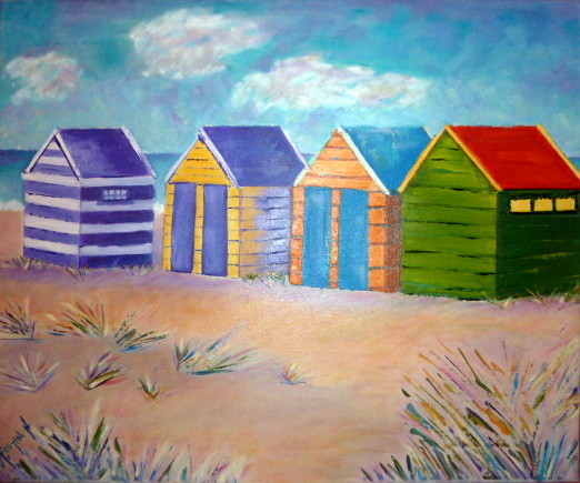 Peinture Les cabines de plage sont pr u00eates  # Cabines De Plage En Bois