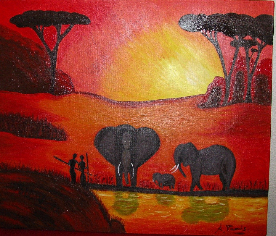 Peinture paysage africain - Paysage peinture facile ...