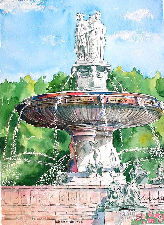 Peinture Fontaine De La Rotonde  AixEnProvence