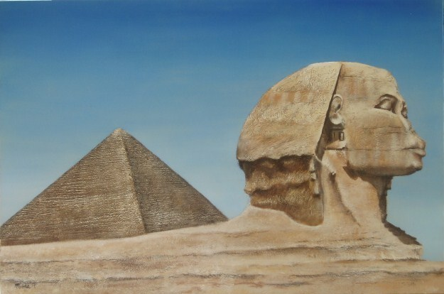 Peinture Sphinx et pyramide d'Egypte