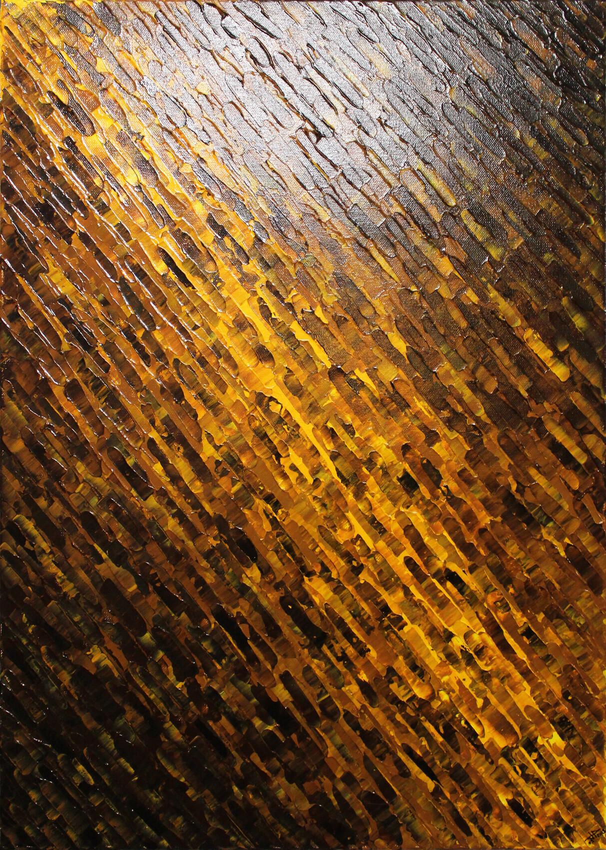 Toile abstraite : Texture couteau jaune marron.