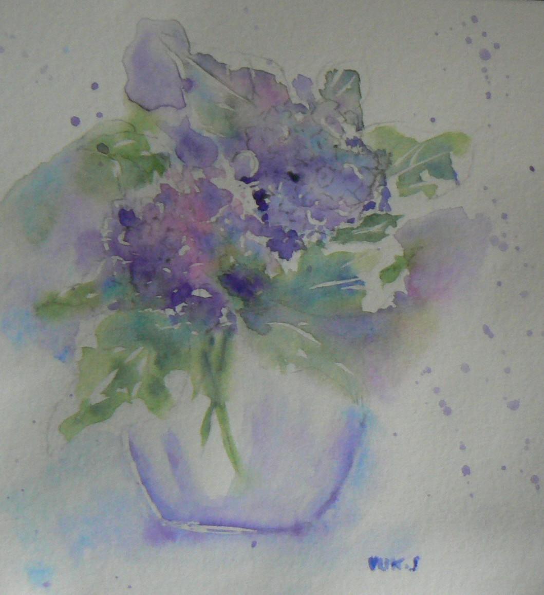 Peinture bouquet d 39 hortensia - Quand couper les fleurs fanees des hortensias ...