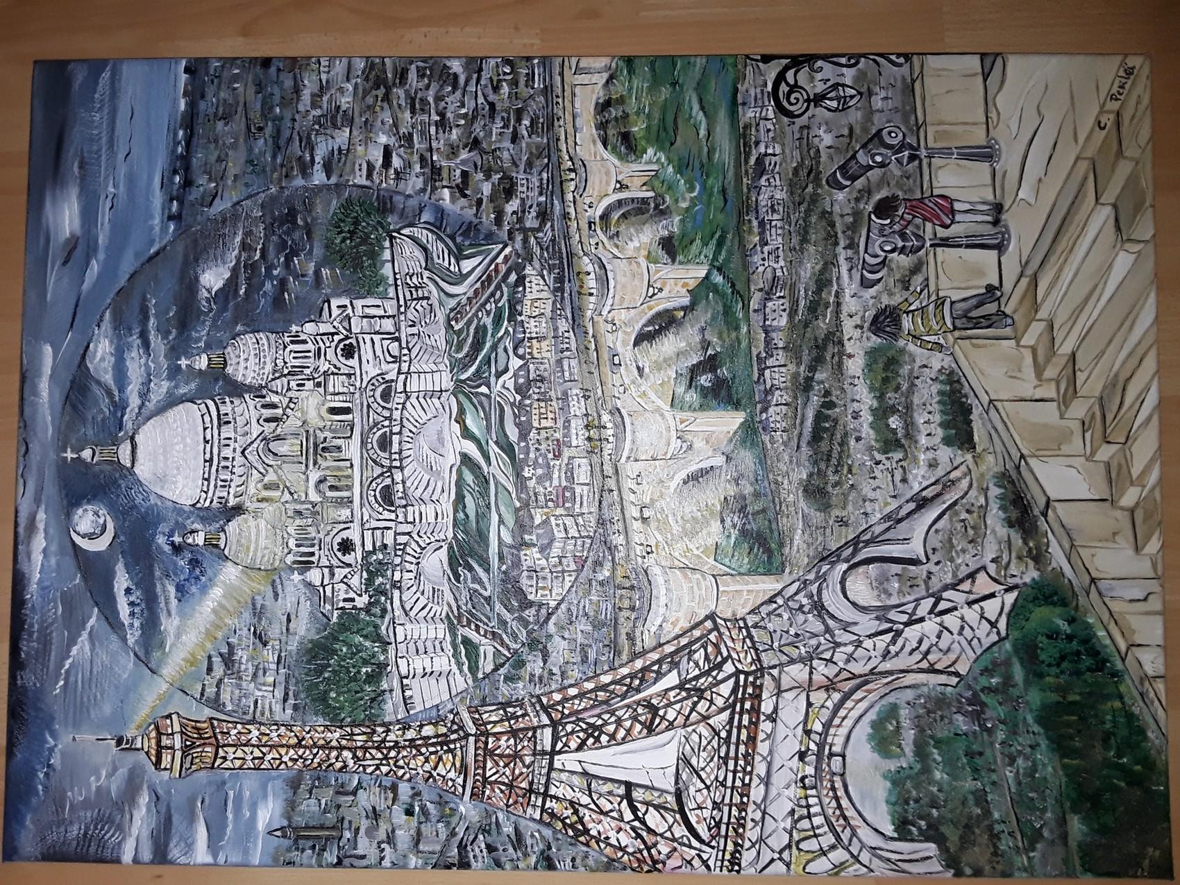 Peinture Tableau Paris Tour Eiffel Sacre Coeur