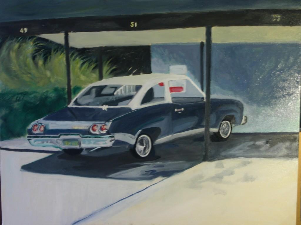 73 Malibu, reprise d'un tableau de Robert Bechtle