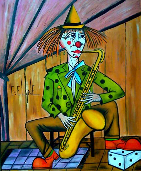 Peinture clown au saxo de buffet for Buffet peintre