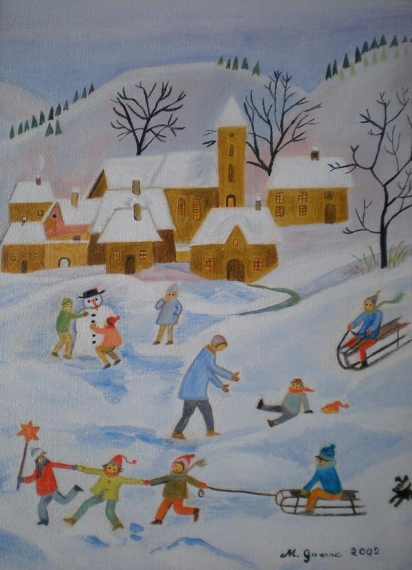 Peinture les enfants dans la neige