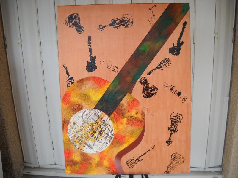 Peinture tableau peinture l 39 huile la guitare m canique for Peinture a l essuye