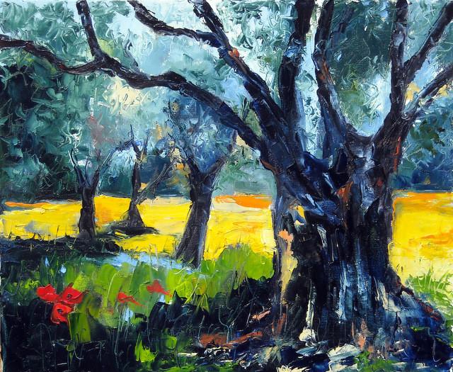 Peinture SOUS BOIS D'OLIVIERS