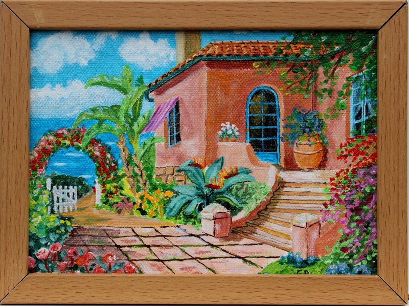 Maison en Italie acrylique 13 x 18 cm