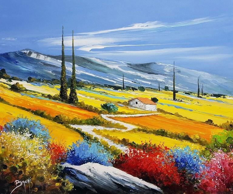 Chemin fleuri - ©Bruni Eric. Tous droits réservés - Tableau peinture, art figuratif.