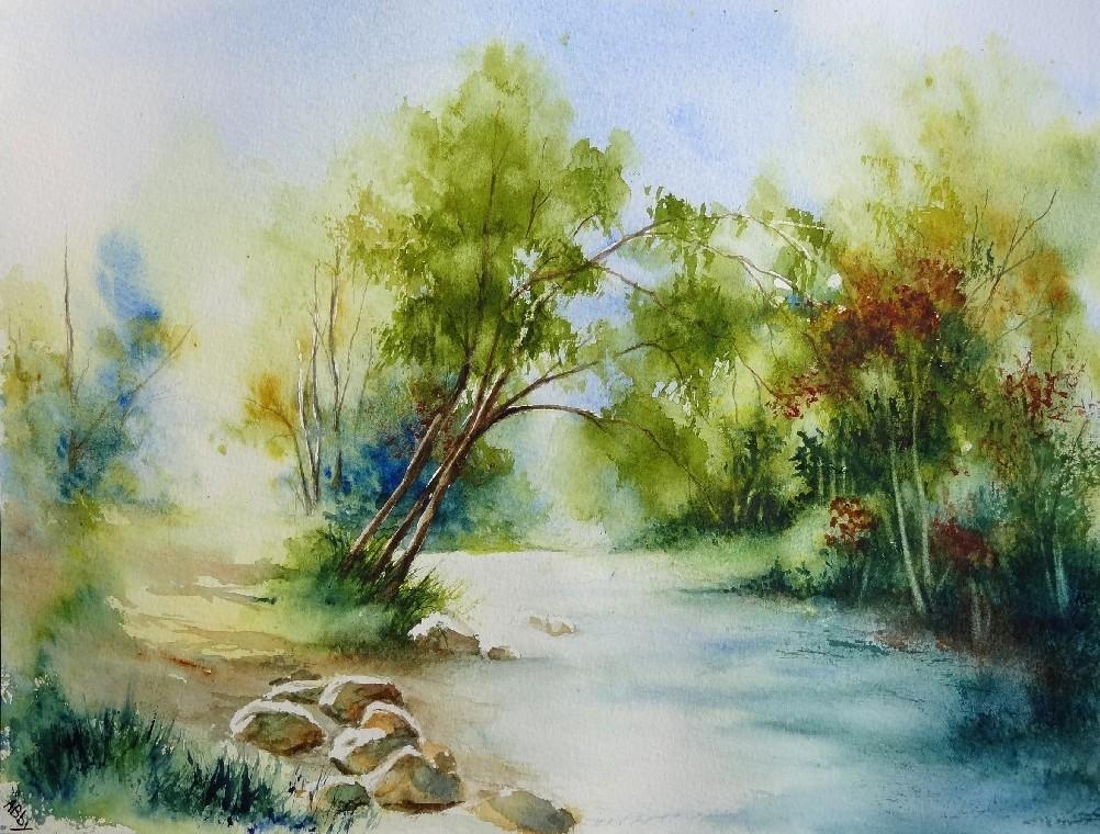 Peinture chemin au bord de l 39 eau for Aquarelle facile