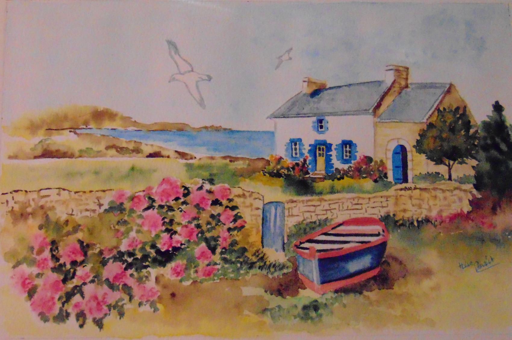 Peinture maison de p cheur en bretagne - Maison de pecheur bretagne ...