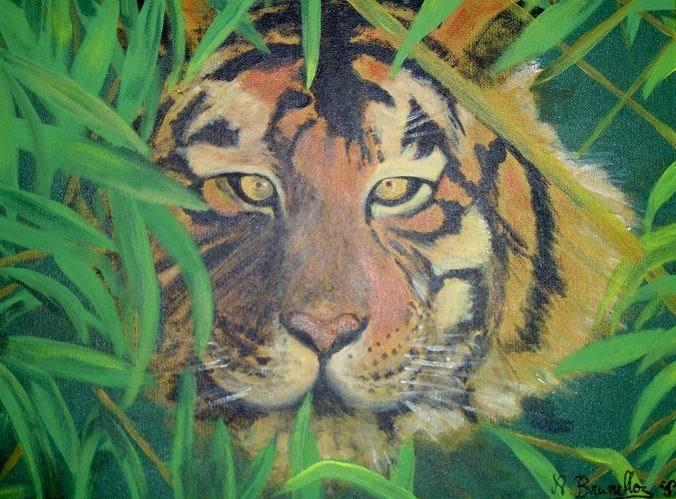 Peinture Tigre Dans Les Hautes Herbes