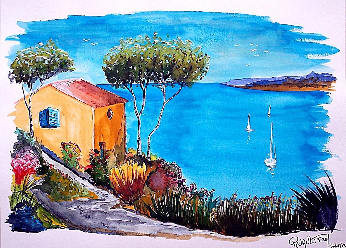 Peinture maison au bord de mer - Maison au bord de mer ...