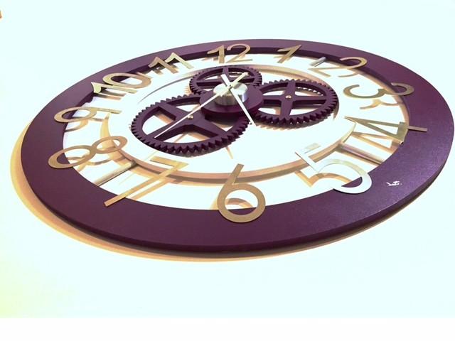 Horloge bois et inox