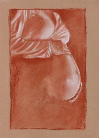 dessin femme enceinte de profil mains sur ventre 090508