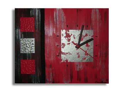 peinture tableau horloge rouge noir gris moderne. Black Bedroom Furniture Sets. Home Design Ideas
