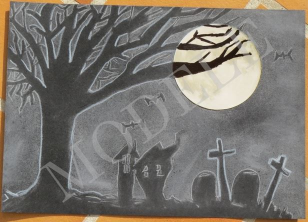 Dessin Dessin Abstrait Noir Et Blanc Halloween Pleine Lune Nuit