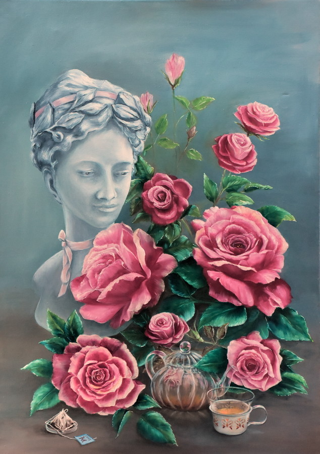 peinture rosa rosam c 39 est ma tasse de th. Black Bedroom Furniture Sets. Home Design Ideas