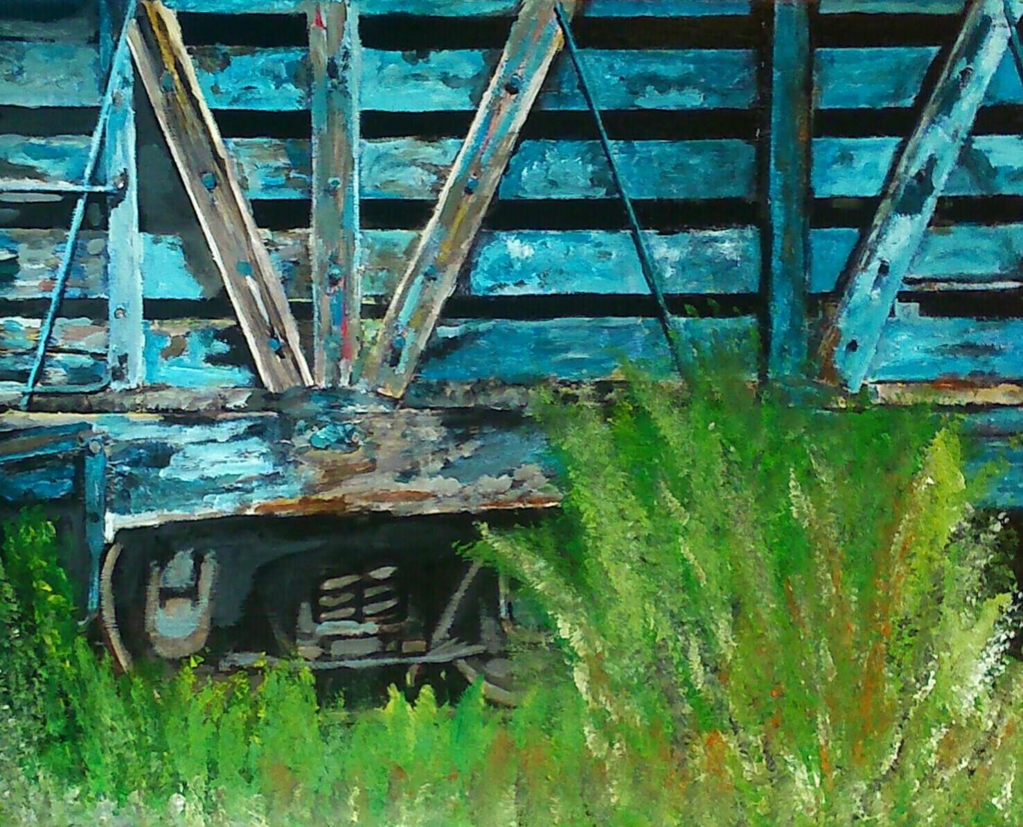 Vieux wagon en bois