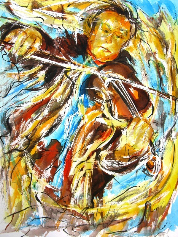 Peinture Violoniste en mouvement