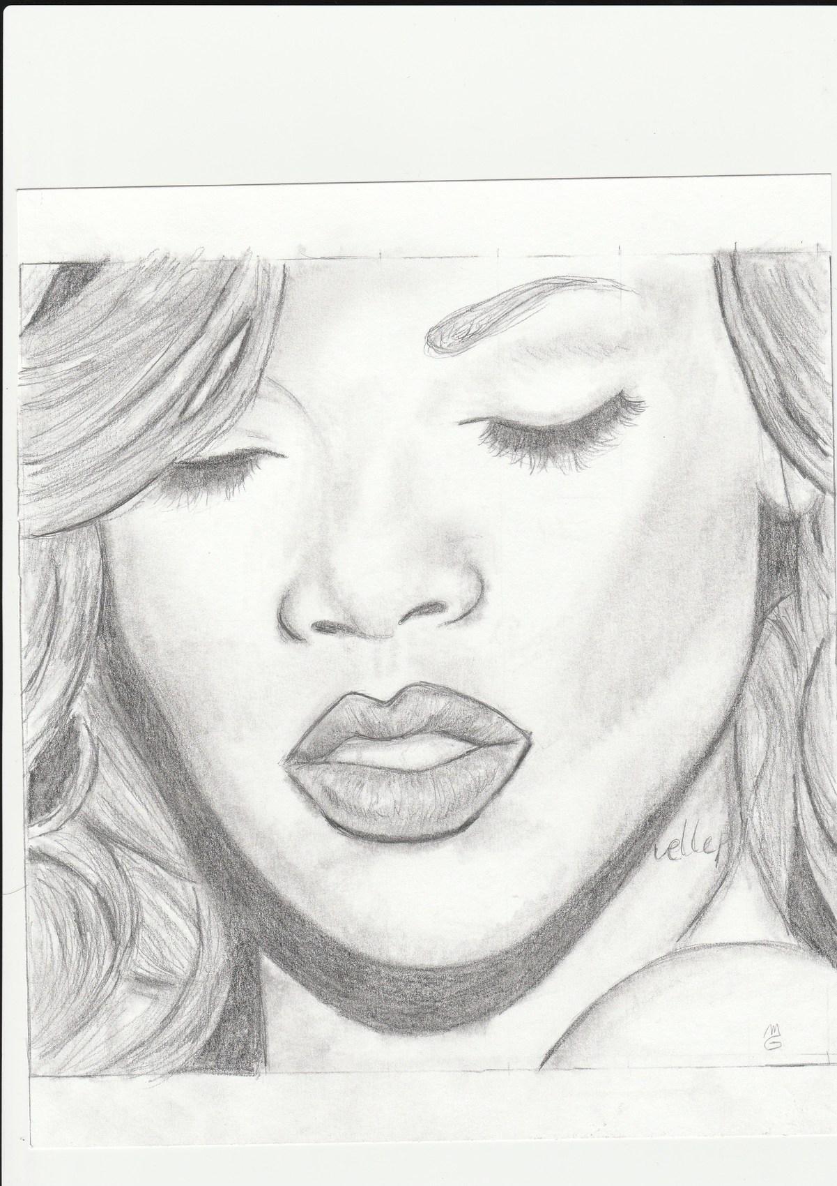 Dessin portrait de rihanna - Portrait dessin facile ...