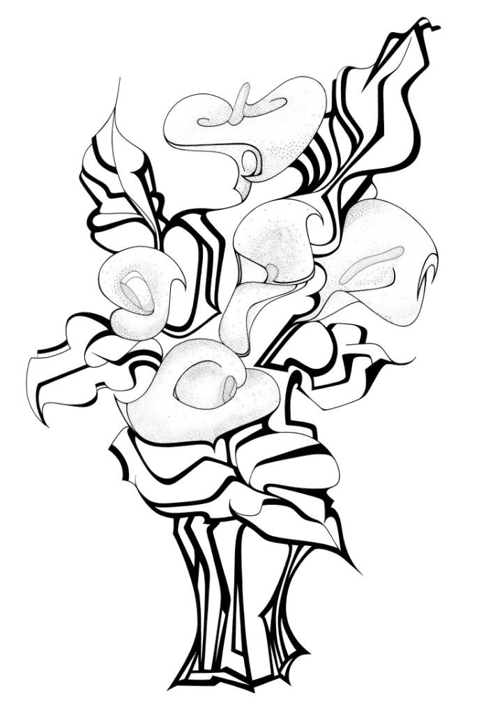 Dessin bouquet d 39 arums - Dessin de fleur en noir et blanc ...