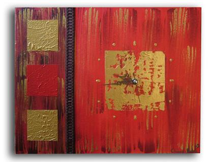 Peinture tableau horloge moderne rouge dor marron salon for Peinture faire du marron