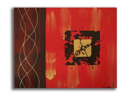 peinture tableau horloge rouge marron dor de chiaradeco. Black Bedroom Furniture Sets. Home Design Ideas