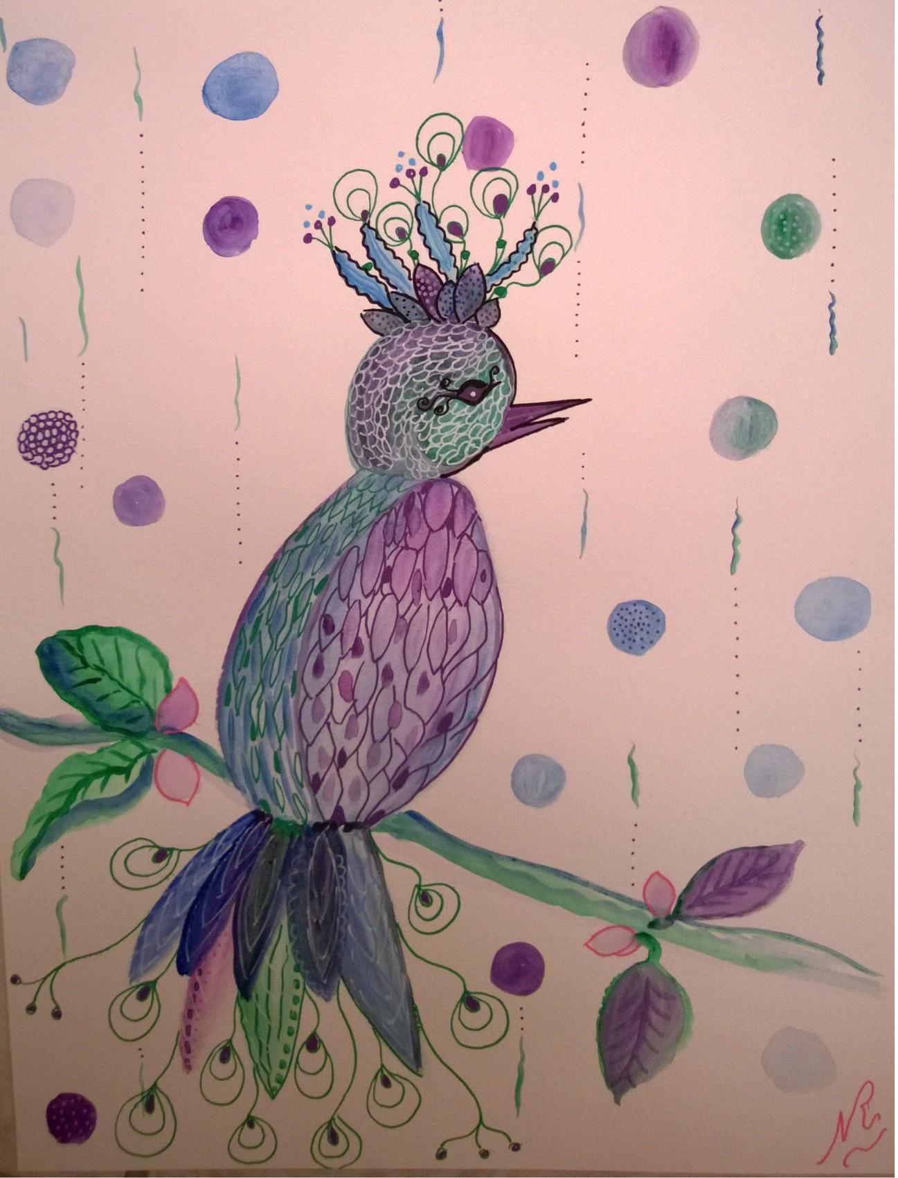 Peinture oiseau couleur du temps for Oiseau couleur