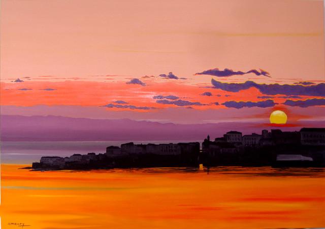 peinture coucher de soleil sur la citadelle d ajaccio corse du sud. Black Bedroom Furniture Sets. Home Design Ideas