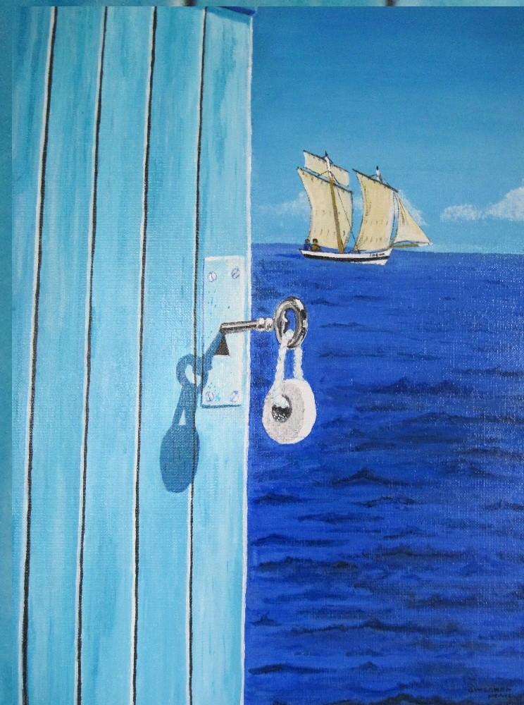 Peinture une porte s 39 ouvre sur la mer for Porte qui s ouvre