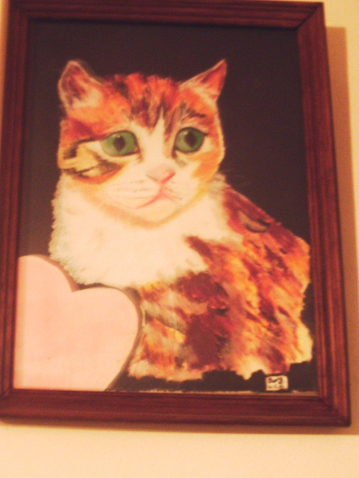 Chat roux au coeur