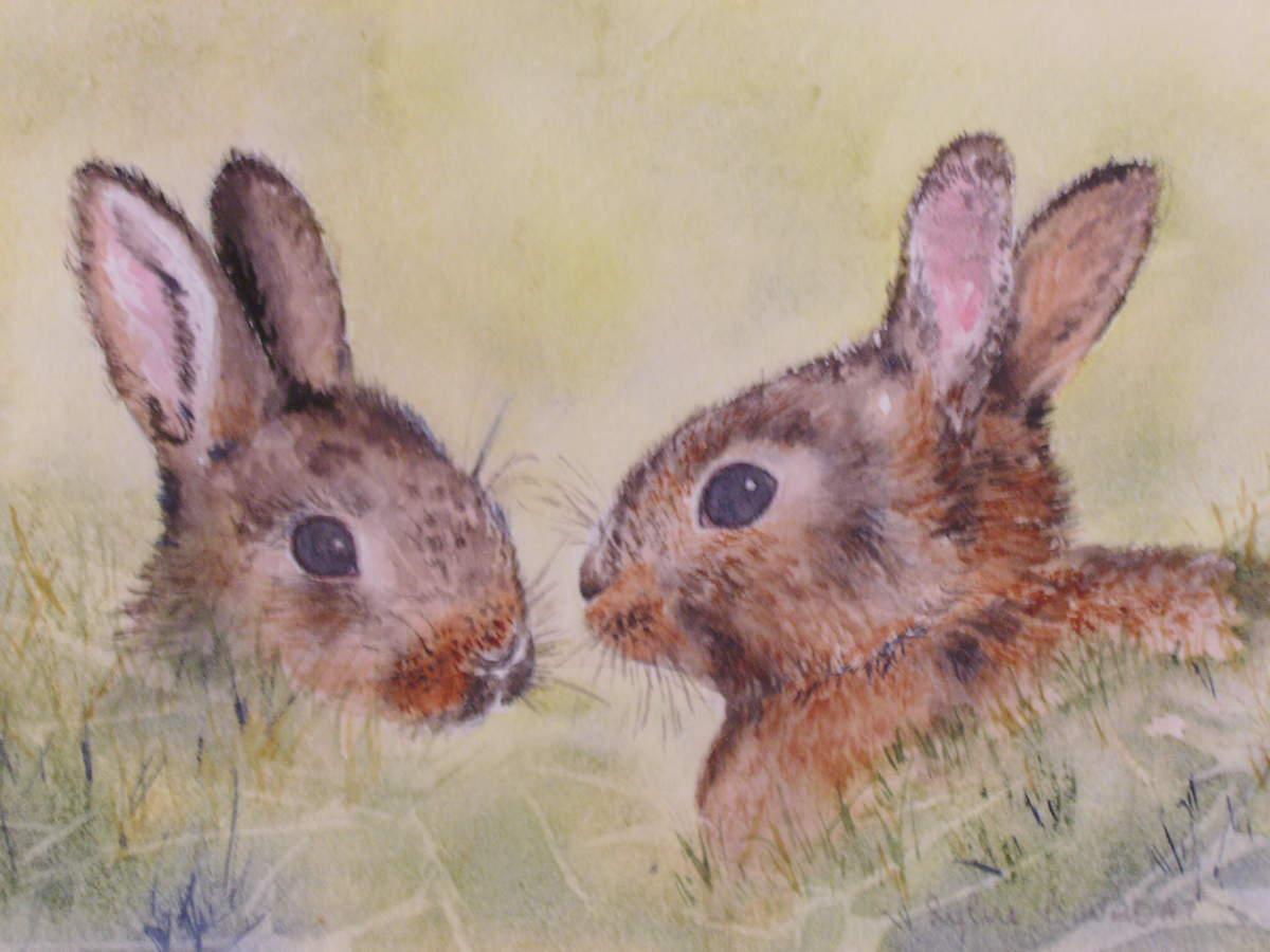 Peinture deux petits lapins papotaient - Patte de lapin peinture ...