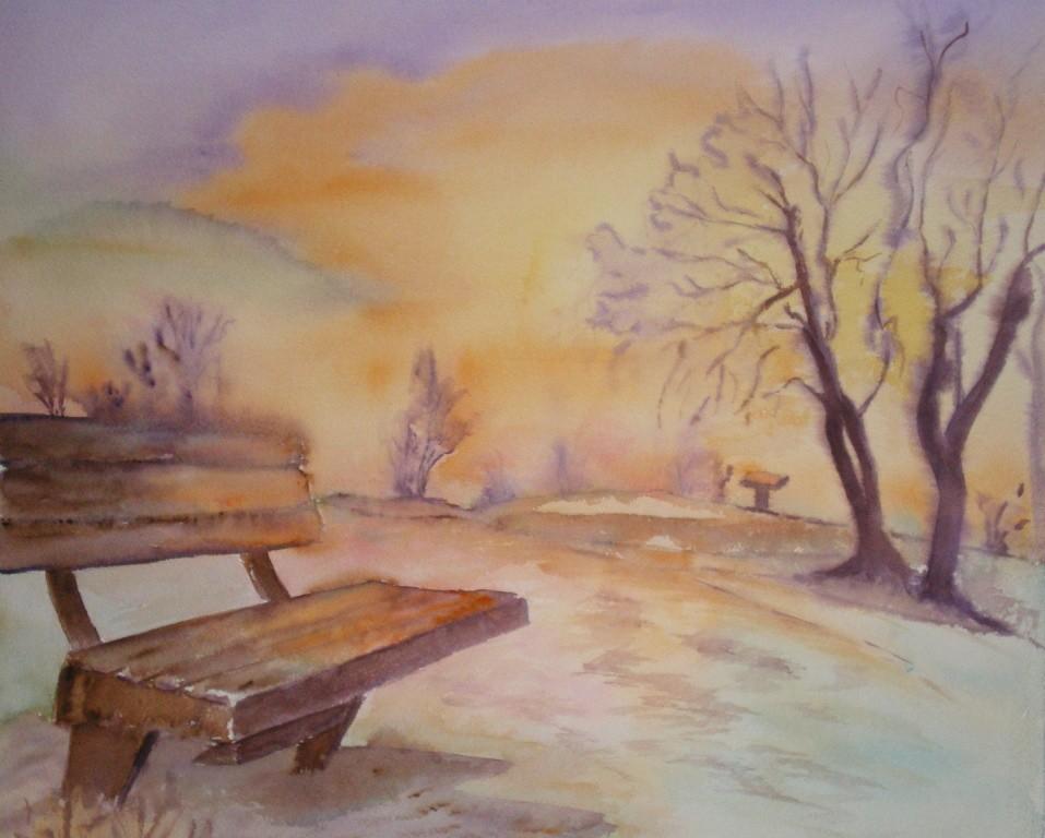Paysage d 39 hiver peinture for Paysage peinture