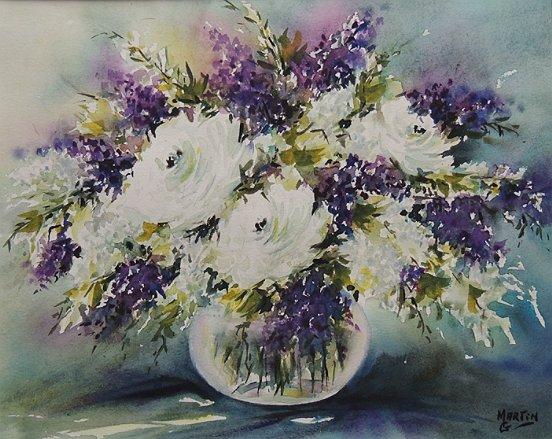 Peinture bouquet lilas roses blanches for Bouquet de fleurs lilas