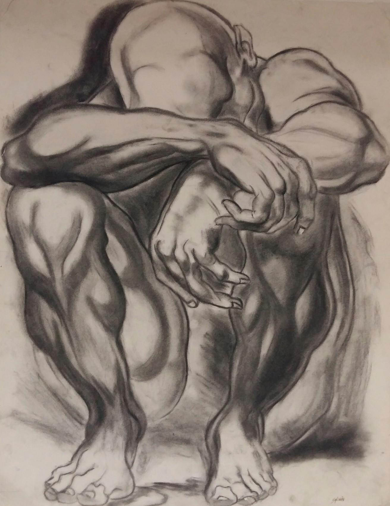 Autoportrait - fusain n°3