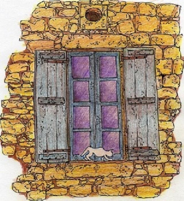 Dessin Fenêtre au chat en terre