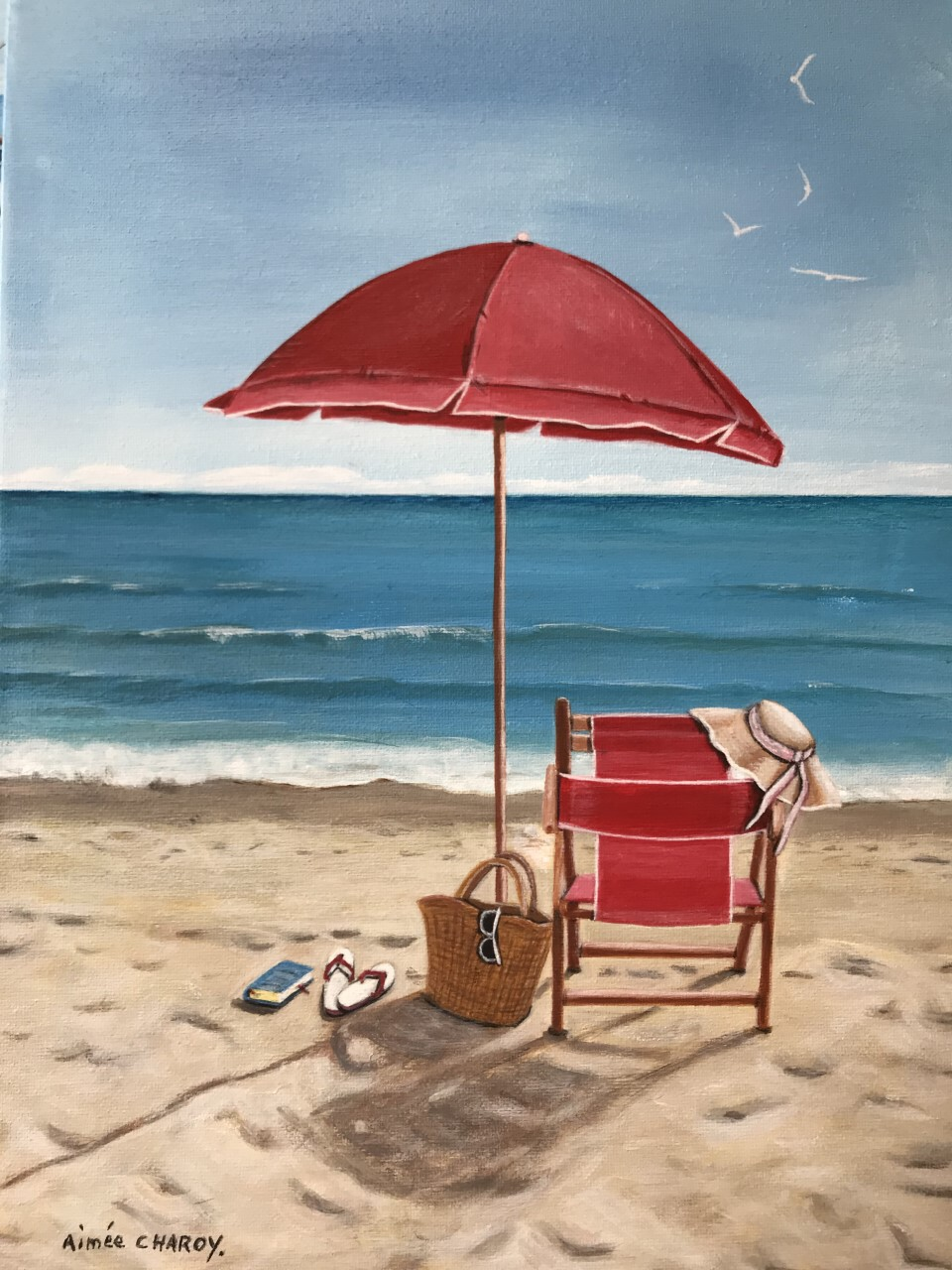 plage parasol rouge