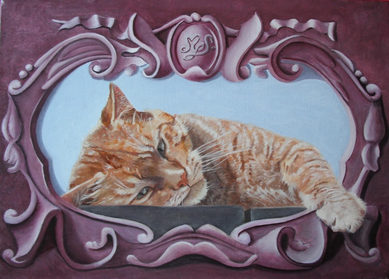 peinture une vie de chat portrait de chat techniques mixtes. Black Bedroom Furniture Sets. Home Design Ideas