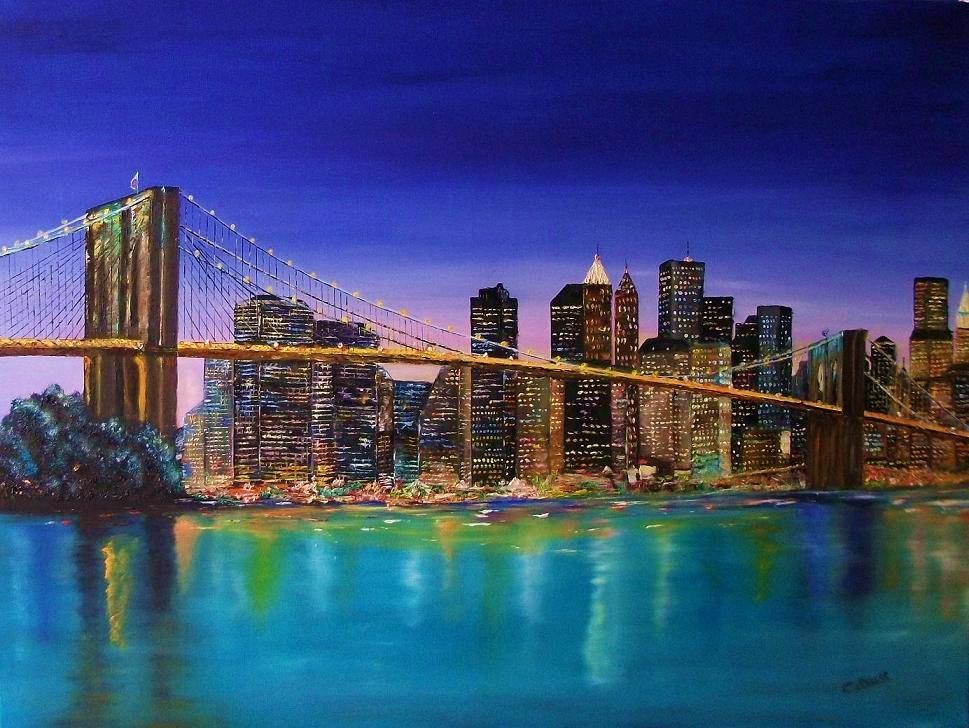 Peinture le pont de brooklyn - Toile pont de brooklyn ...