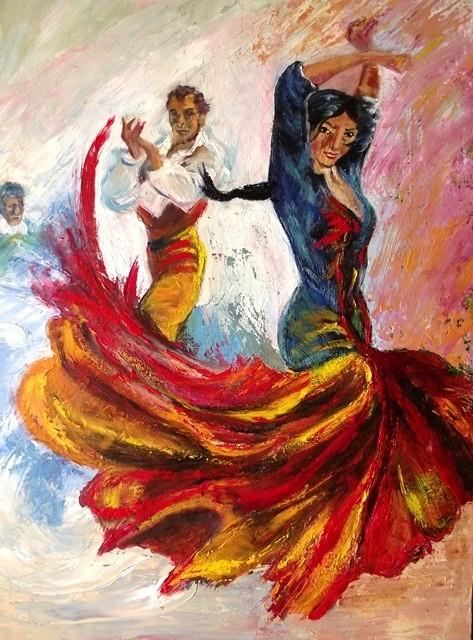 Peinture couple de flamenco - Dessin danseuse de flamenco ...