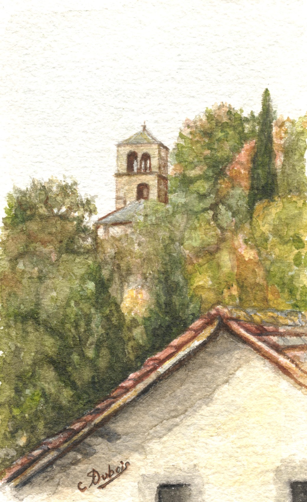 クロードデュボアによる水彩画(AUVERGNE Saint Dieryの底)watercolor by Claude Dubois (AUVERGNE Saint Diery the bottom)