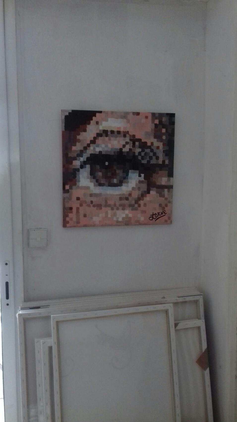 Clarisse 50 cm x 50 cm peinture - recul